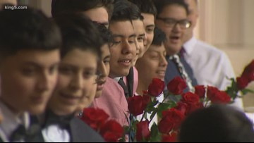 Group of middle school boys in Seattle area give Valentines to entire school