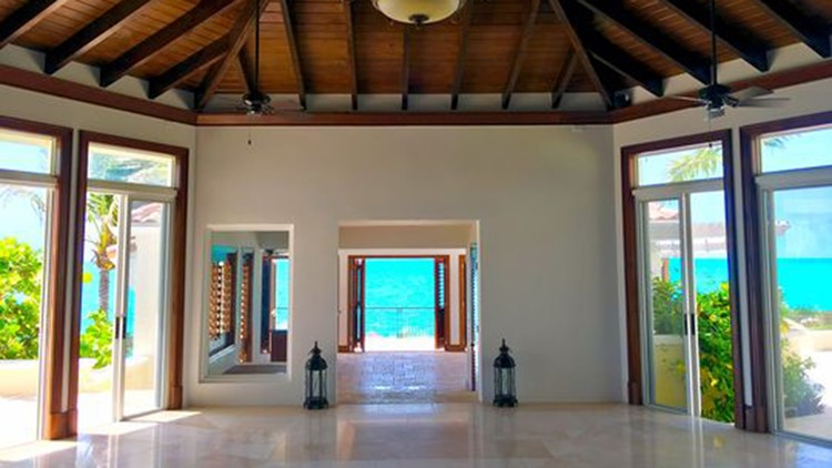 Interior at Prince's Turtle Tail estate on Turks and Caicos in the Caribbean, up for auction in July. (Photo: Premiere Estates)