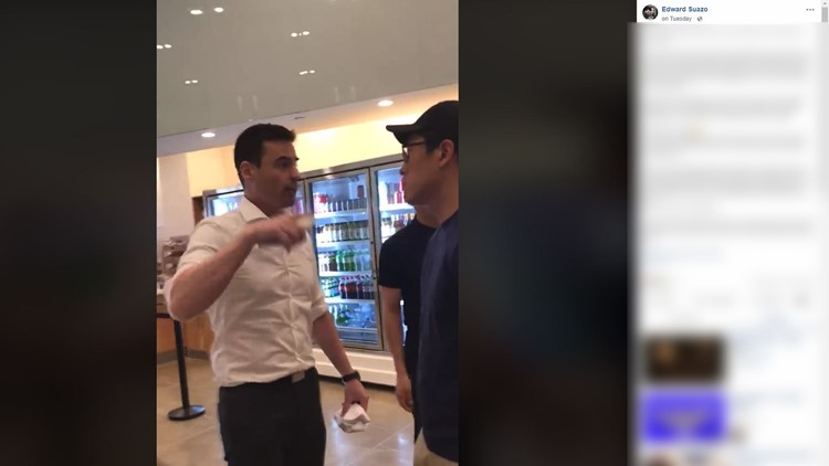 Edward Suazo posted video on Facebook Tuesday afternoon and wrote that his wife and her friend were speaking Spanish to one of the employees at a Manhattan shop when a man threatened to call I.C.E. on them and the employees.