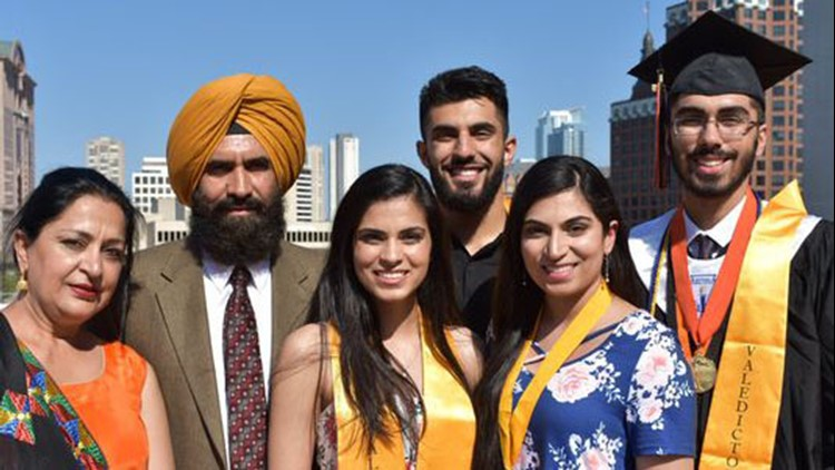 From left are parents Pam and Darshan, both Milwaukee Public Schools teachers, and their four children who were all valedictorians at Riverside University High School in Milwaukee: Raj in 2014, Gurtej in 2017, Rupi in 2011 and Sirtaj this year.