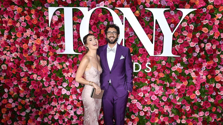 US singer Josh Groban (R) and US actress Schuyler Helford attend the 2018 Tony Awards - Red Carpet at Radio City Music Hall in New York Cityon June 10, 2018.