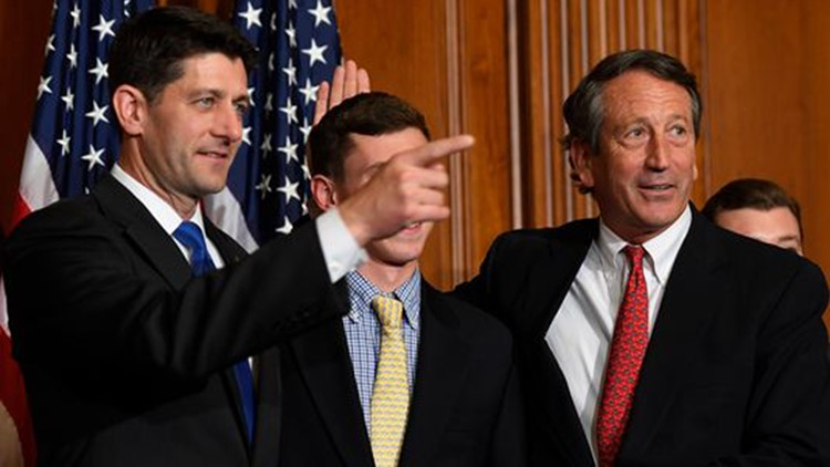 Rep. Mark Sanford, R-S.C., stands with House Speaker Paul Ryan, R-Wis., for a ceremonial swearing-in and photo op during the opening session of the 115th Congress on Jan. 3, 2017. (Photo: Jack Gruber, USA TODAY)