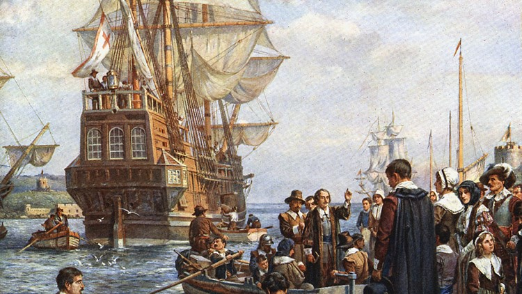 Pilgrims leave on the Mayflower