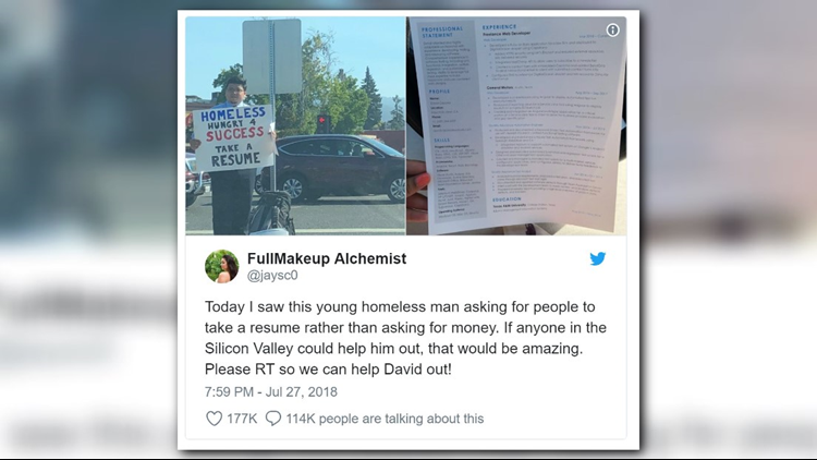 California homeless man goes viral for handing out resumes inste ...