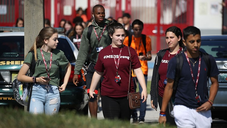 Students from Marjory Stoneman Douglas High School, where 17 classmates and teachers were killed during a mass shooting, join the National School Walkout on April 20, 2018 in Parkland, Florida.