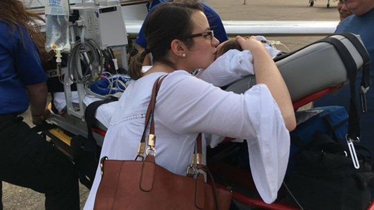 St. Jude Children's Research Hospital airlifted 10-month-old Emma Medlin and her mother Amy Medlin from Shreveport to Memphis on March 27.