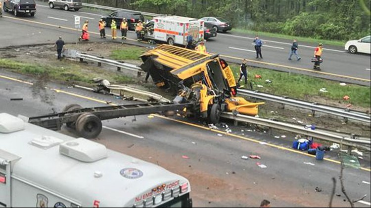 The scene of a bus crash on Route 80 in Mount Olive May 17, 2018.