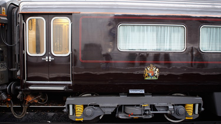 A carriage of the Royal Train sits in at Liverpool Lime Street train station at the start of a day-log visit by Queen Elizabeth II and The Duke Of Edinburgh to Liverpool on December 1, 2011 in Liverpool, England.