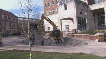 New video shows crews filling massive sinkhole on University of Tennessee campus
