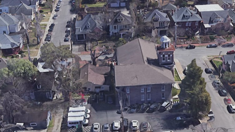 Google Earth image aerial view of YMCA building in East Nashville prior to tornado damage