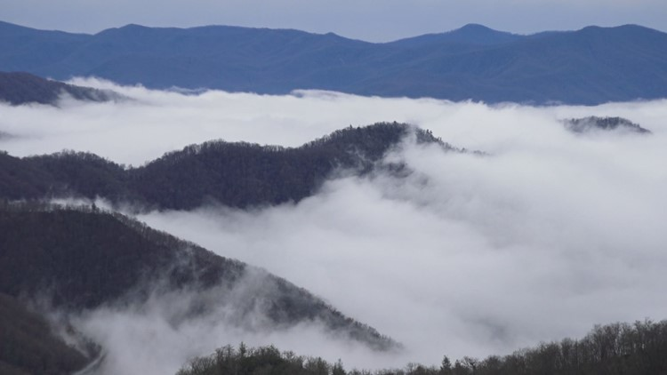 Fog rolls over the Smokies.