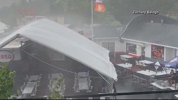 Esso Club employee tossed onto roof while trying to secure event tent in storm