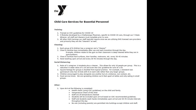YMCA Childcare Guidelines