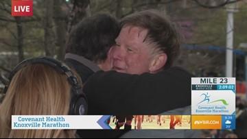 Todd Howell celebrates finishing 2019 Covenant Health Knoxville half-marathon