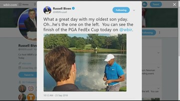 Russell and his son see Tiger Woods win
