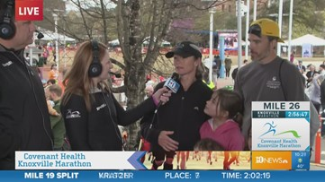 Knoxville native Gina Rouse speaks after winning Covenant Health Knoxville Marathon for the fourth time