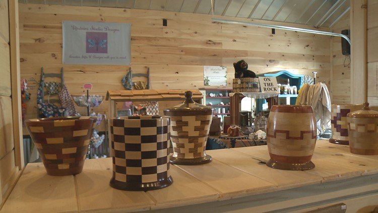 Carved wood containers at Seymour Local