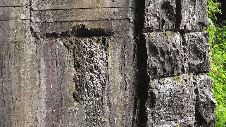 Crumbling concrete Bote Mountain tunnel GSMNP to Cades Cove