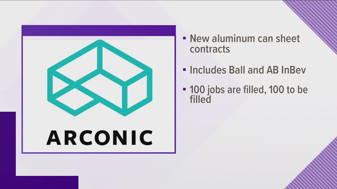 Alcoa manufacturer to add 200 new jobs due to new contracts for aluminum cans