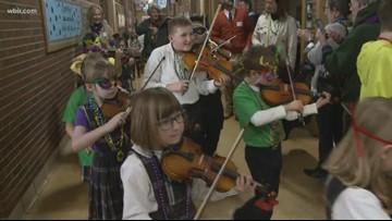 Sacred Heart school hosts adorable Mardi Gras parade