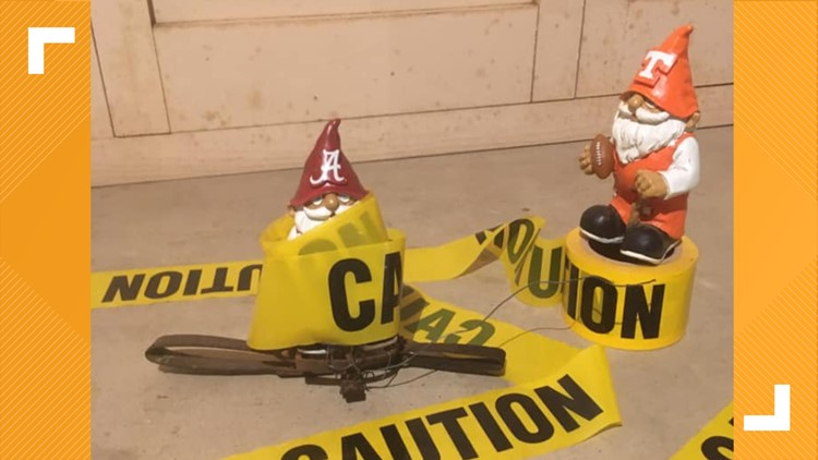 These gnomes battling it out before the UT vs. Alabama game are all of us right now