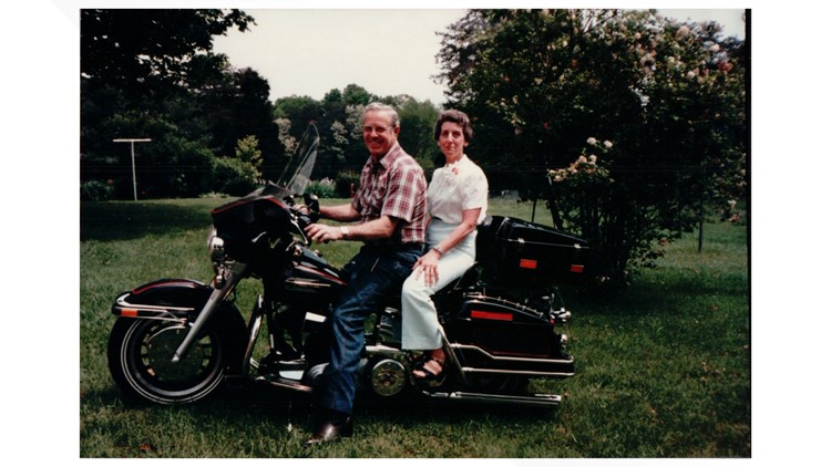 Martha Thompson and her late husband on a motorcycle ride