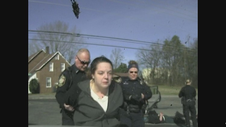 Julia Myers is arrested after a chase and drinking a beer in front of officers