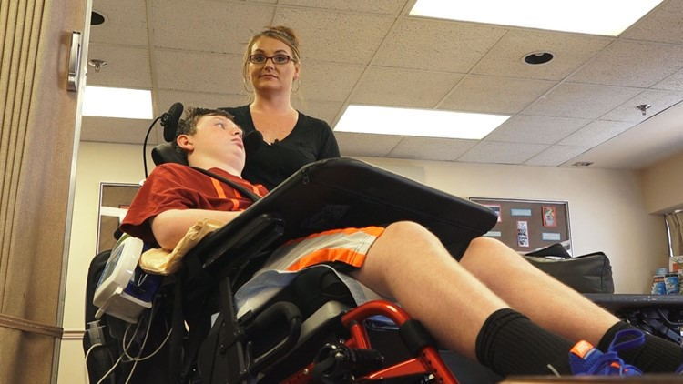 Kelly Cummings and her son, Jonathan, at Fort Sanders Regional Medical Center in Knoxville.
