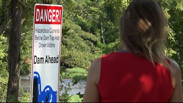 Warning signs installed at dangerous dam