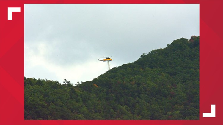 Brush fire helicopter drop