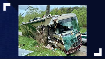 Person injured after RV strikes power pole in Sevier County