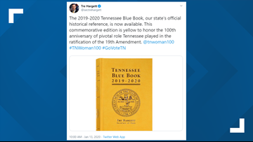 Tennessee's yellow Blue Book honors women's voting rights