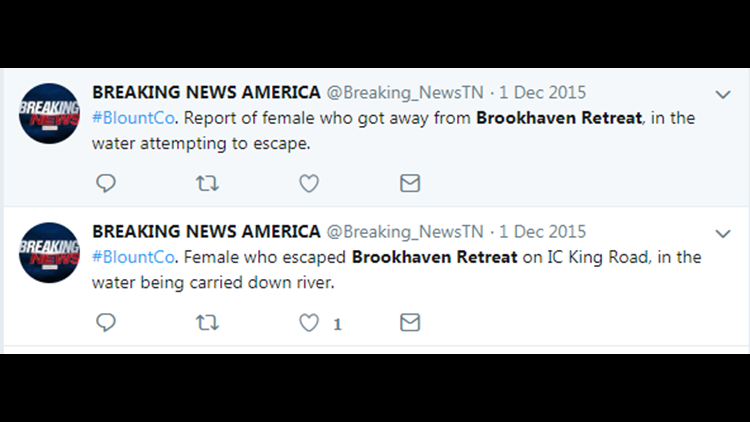 Media tweets about escape in December 2015 by Lumpkins daughter.