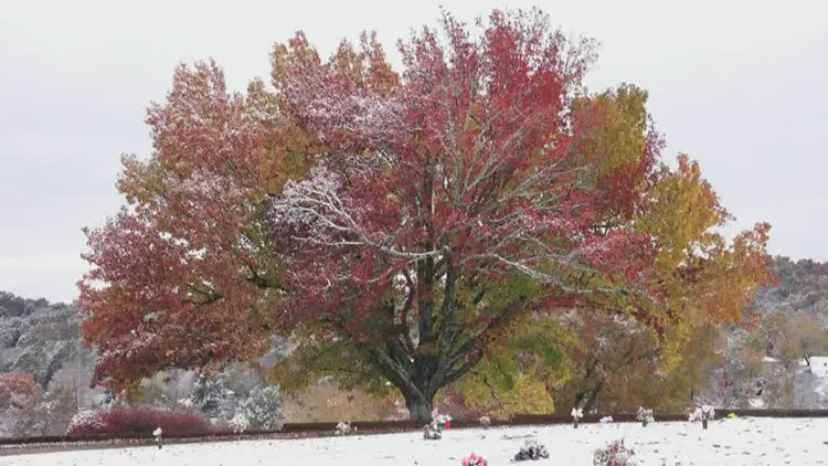 Picturesque snowfall across East Tennessee as fall and winter's best combine