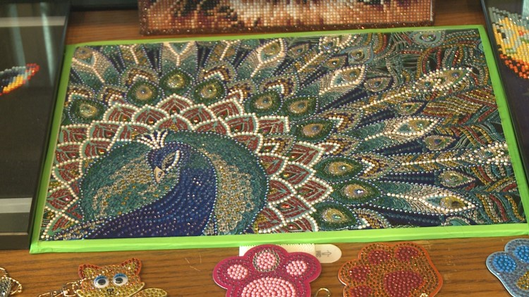 Beaded art at Seymour Local