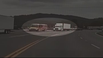 Video captures semi truck blowing past stopped Tazewell school bus dropping off children