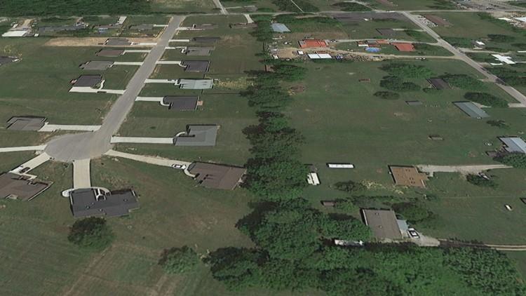 Google Earth aerial image of Hensley Drive cul de sac before tornado damage