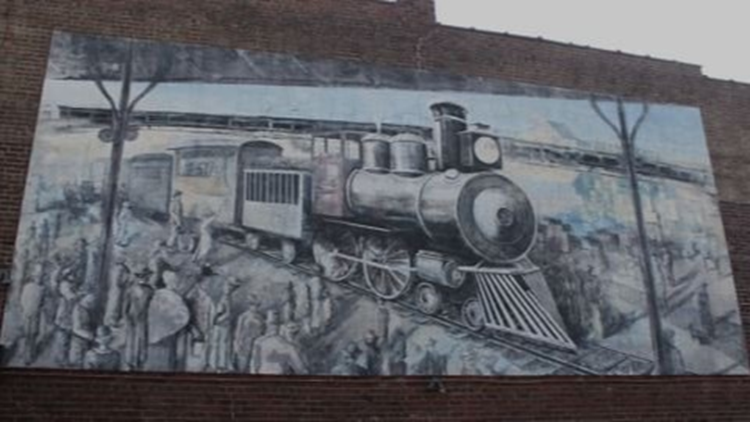 Old City train mural