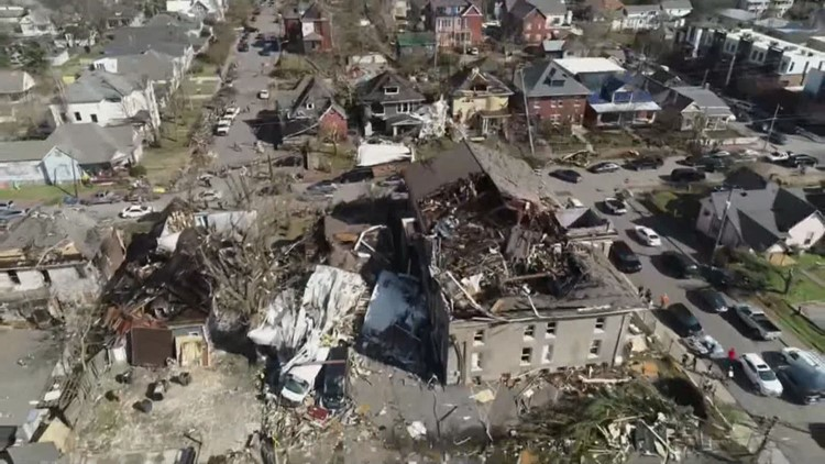 Drone footage shows roof ripped from the YMCA building in East Nashville by tornado