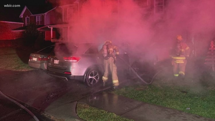 No injuries reported after four cars catch fire outside NE Knox County home