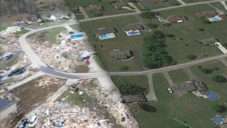 Charlton Square Tornado Damage with superimposed Google Earth image before storm