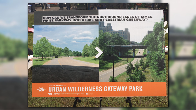 The city says it may be possible to turn lanes of James White Parkway into a greenway connecting South Knoxville to downtown.