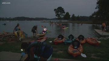 Paddling under a full moon at Fort Loudon Lake on Saturday