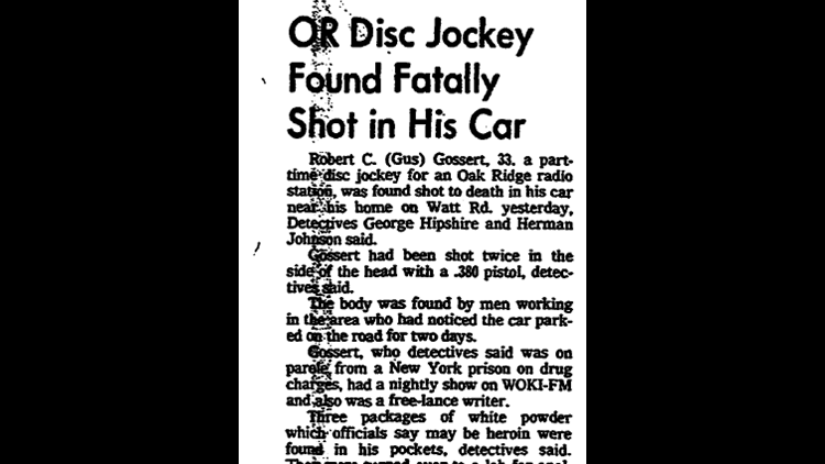 Gossert's body was found in his car Aug. 10, 1976. He'd been dead at least 24 hours.