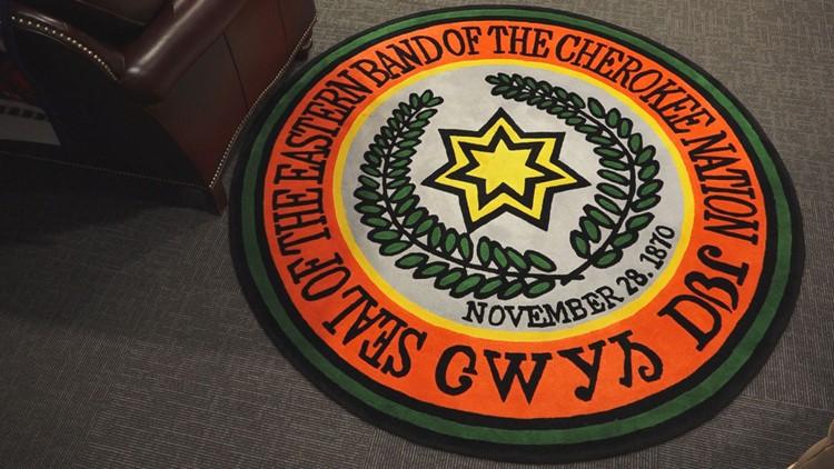 Eastern Band of Cherokee Indians Logo Seal Rug North Carolina Chief Office