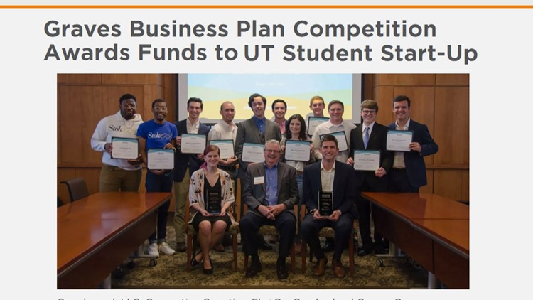 Screenshot of the UT announcement of the Graves Business Plan competition winners.