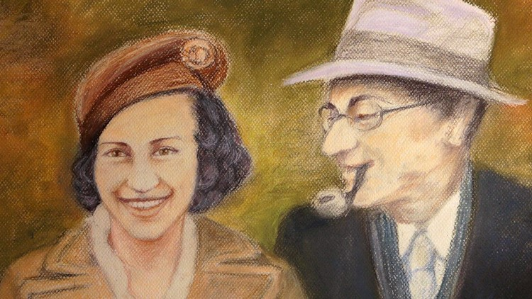 Pastel drawing of Sonja DuBois biological parents killed at Auschwitz