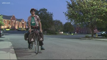 Buddhist monk on a bike stops through Knoxville on cross-country ride to end Alzheimer's
