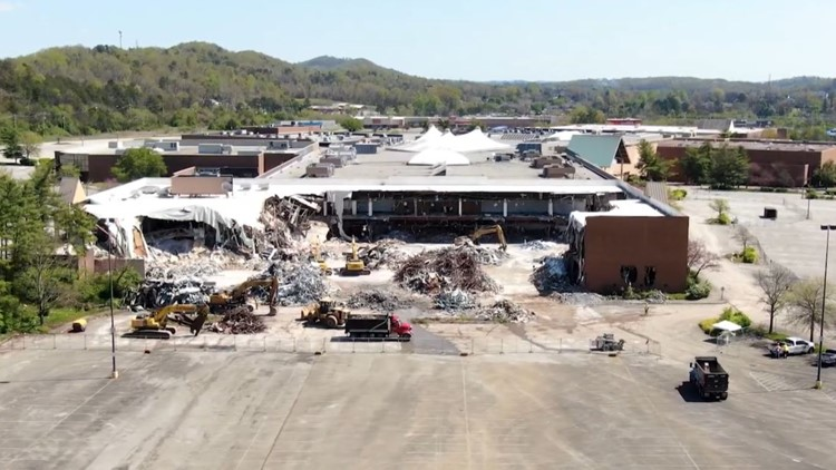 Aerials: The old JCPenney store at Knoxville Center mall is gone as demolition continues