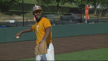 Playing catch with Vols outfielder Alerick Soularie